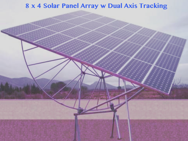 Solar Array of 32 panels on pedestal