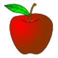The red apple fruit icon with stem